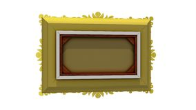 Gold picture frame rotates around on white background, seamless loop. 3D animation with tv noise and green screen. Rotation of gold picture frame with tv noise stock video footage