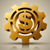Rotation Mark Gold Dollar. Business concept - Rotation Mark Gold Dollar Stock Photo
