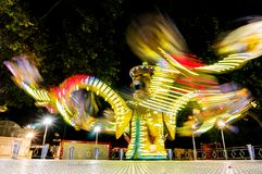 Moving speed lights in the theme park stock images