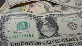 Rotation paper money. US dollars bank notes. Macro shot stock video footage