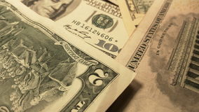 Rotation paper money. US dollars bank notes. Macro shot stock footage