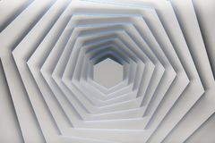 Rotated white hexagons with blue edges. Rotation of pure white hexagons with blue edges. 3d illustration vector illustration