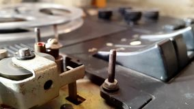 Pushing Button On Tape Recorder. Rotation reel with tape on the video, audio tape recorder player. Closeup stock footage