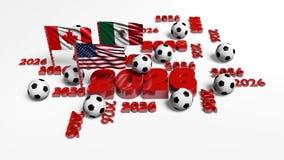 Rotation runt om många 2026 designer med USA mexikan- och kanadensareflaggor med någon fotboll klumpa ihop sig stock illustrationer