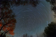 Rotation of the sky around  pole star Royalty Free Stock Photos