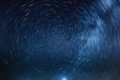 The rotation of the stars around the North Star, and the light Royalty Free Stock Photos
