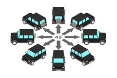 Rotation SUVs durch 45 Grad lizenzfreie abbildung