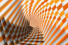 Rotation of textured hexagon with pattern of orange lines. 3d illustration stock illustration