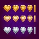 Rotationsanimations-Herzmünzen Stockbild