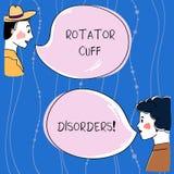 Rotator κειμένων γραψίματος λέξης αναταραχές μανσετών Η επιχειρησιακή έννοια για τους ιστούς στον ώμο παίρνει το ενοχλημένο ή χαλ διανυσματική απεικόνιση