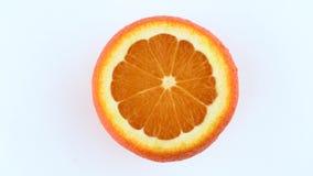 Rotazione arancio della frutta di Cutted Isolato su priorità bassa bianca Vista da sopra/sopraelevato Chiuda sulla macro stock footage