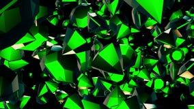 Rotazione astratta, gemme volanti nel verde sul nero illustrazione di stock