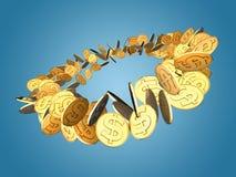 Rotazione dorata del dollaro Fotografie Stock Libere da Diritti