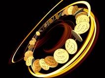Rotazione dorata del dollaro Fotografia Stock