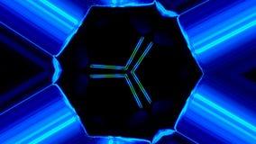 Rotazione ipnotica di movments della mandala di Tunel del triangolo dello spazio con i segni astratti illustrazione di stock