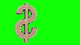 Rotazione isolata simbolo di dollaro dell'oro archivi video