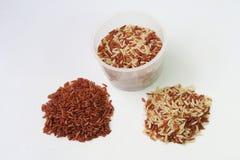 Rotbrauner Reis und messende Schale stockbild