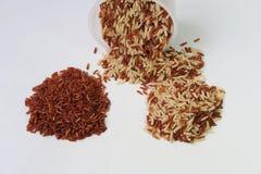 Rotbrauner Reis und messende Schale lizenzfreie stockfotografie