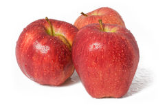 Rote Äpfel in den Tropfen des Wassers Lizenzfreies Stockfoto