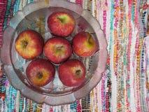 Rote Äpfel in der Schüssel Wasser lizenzfreie stockfotos