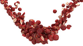 Rote Äpfel fließen getrennt über Weiß Stockbild