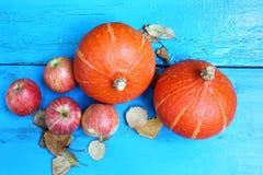 Rote Äpfel mit orange Kürbisen auf altem Holztisch Lizenzfreie Stockbilder