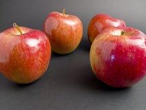 Rote Äpfel und frisch auf einem schwarzen Hintergrund Stockbild
