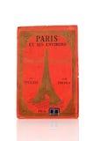 Rote Abdeckung alter Paris-Stadtplan Stockfotografie