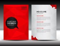 Rote Abdeckungs-Jahresberichtdesign-Vektorillustration Lizenzfreies Stockfoto