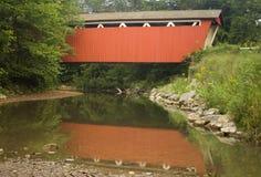 Rote abgedeckte Brücke über einem Strom Lizenzfreie Stockfotografie