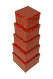 Rote abgestufte Weihnachtsgeschenkboxen Stockfotos
