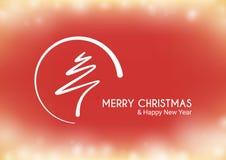 Rote abstrakte Baumgrenze der frohen Weihnachten mit Kreis Lizenzfreie Stockfotografie