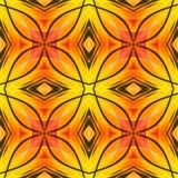 Rote abstrakte Beschaffenheit des orange Gelbs mit schwarzen Linien Helle nahtlose Fliese Gewebedesignprobe Optimistisches und En Stockbild