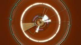 Rote abstrakte runde Animation, High-Techer Hintergrund mit Kreisen Futuristischer Sciencefiction HUD-Effekt stock abbildung
