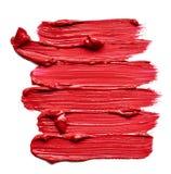 Rote Abstrichfarbe von kosmetischen Produkten Stockfoto