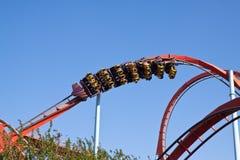 Rote Achterbahn am PortAventura Park, Spanien Lizenzfreies Stockfoto