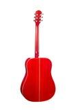 Rote Akustikgitarre Rückseitige Ansicht Stockfoto