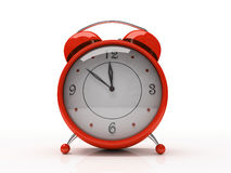 Rote Alarmuhr getrennt auf weißem Hintergrund 3D Stockbilder