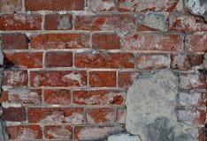 Rote alte Backsteinmauer, Hintergrund, Beschaffenheitsnahaufnahme, Lizenzfreie Stockbilder
