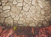 rote alte hölzerne Planken und trockener Boden knackten Stockfoto