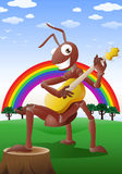 Rote Ameise, die Gitarre spielt Lizenzfreie Stockfotos