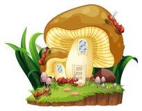 Rote Ameisen und Pilzhaus im Garten vektor abbildung