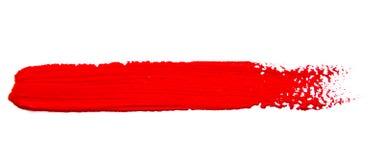 Rote Anschläge des Pinsels lokalisiert Stockbilder