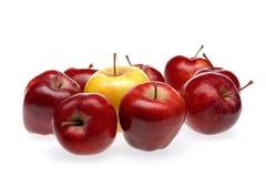 Rote Apfelgruppe mit gelbem Apfel Lizenzfreies Stockbild