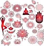 Rote Aufkleber - Buddhismus, Buddha, Mandala stock abbildung