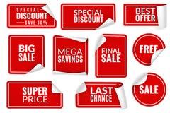 Rote Aufkleber kr?uselten sich Eingewickelter Papieraufklebersatz, Preisschild-Verkaufsfahnenbiegungsrand-Eckenbl?tter Werbungsau stock abbildung