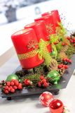 Rote Aufkommen-Kerzen Stockbild