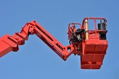 Rote Aufnahmevorrichtung des hydraulischen Aufbaus stockfotografie