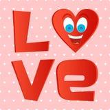 Rote Aufschriftliebe mit rotem Herzen mit Gesicht mit blauen Augen und einem großen frohen Lachen mit offenem Mund und der Zunge  stock abbildung