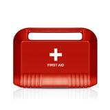 Rote Ausrüstung der ersten Hilfe Stockfotos